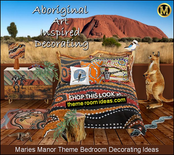 Ayers Rock bedroom ideas Australian themed Aboriginal art prints outback bedroom ideas.