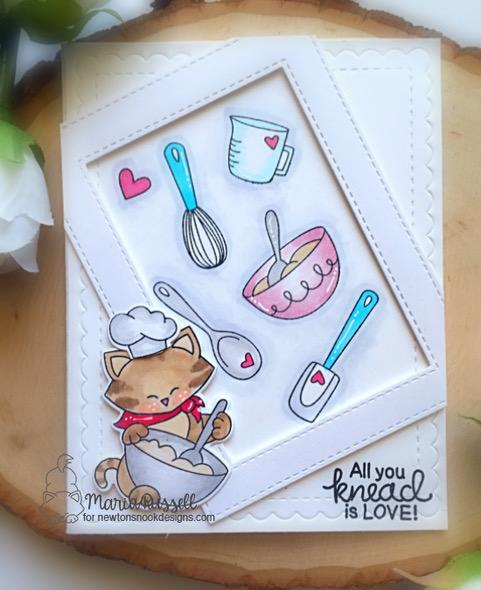 Cat Baking card by Maria Russell | Newton's Kitchen and Made from Scratch Stamp Sets by Newton's Nook Designs #newtonsnook #handmade #kitchenstamps