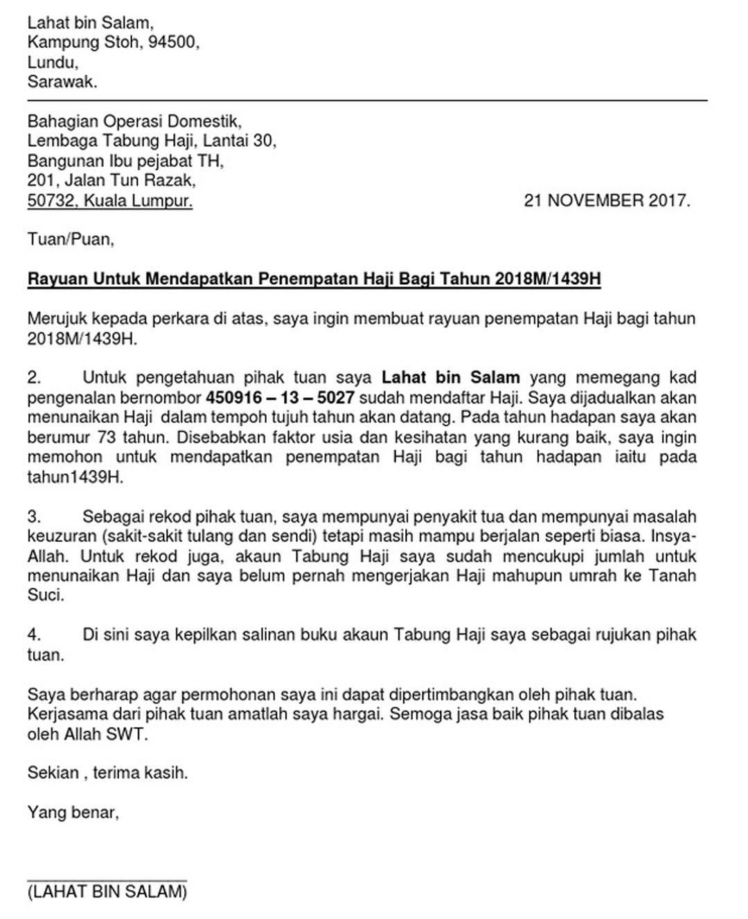 Contoh surat rayuan permohonan haji