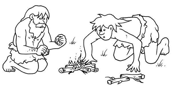 Dibujos De Prehistoria Para Ninos Para Colorear: Hombre Prehistorico Para Colorear