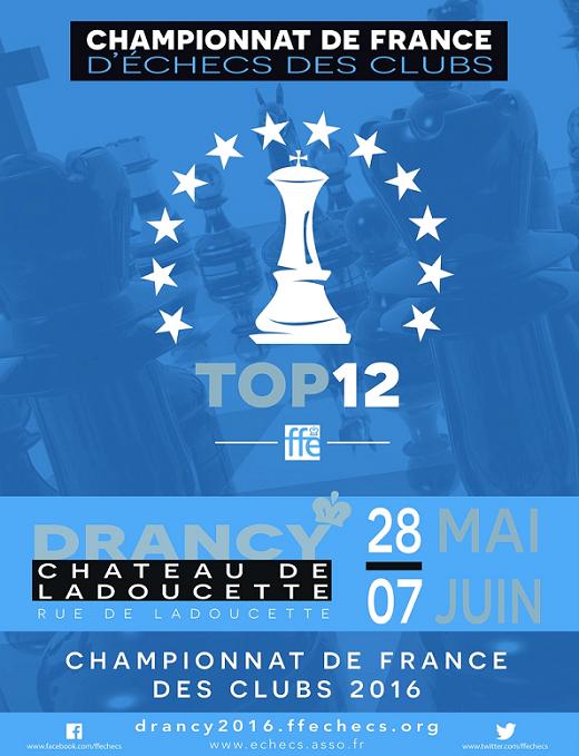 Le TOP 12 d'échecs 2016 à Drancy - Affiche © FFE