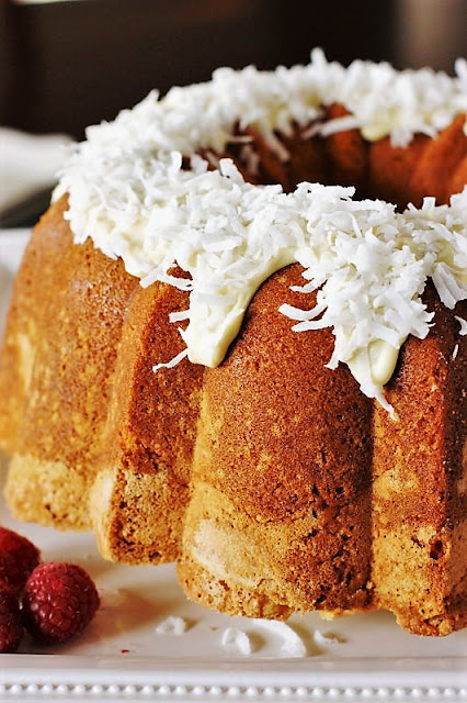 Coconut Pound Cake with White Chocolate Frosting Image