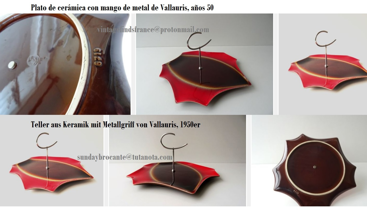 Brown Red Plate unusual shape and stylized metal handle from Vallauris, 1950s, Plato de cerámica con mango de metal de Vallauris, años 50,  Teller aus Keramik mit Metallgriff von Vallauris, 1950er