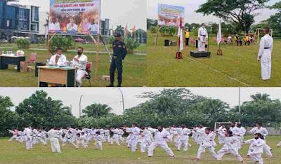 Kapolsek Percut Sei Tuan Janpiter Napitupulu Laksanakan Ujian Karate Kenaikan Sabuk KKI
