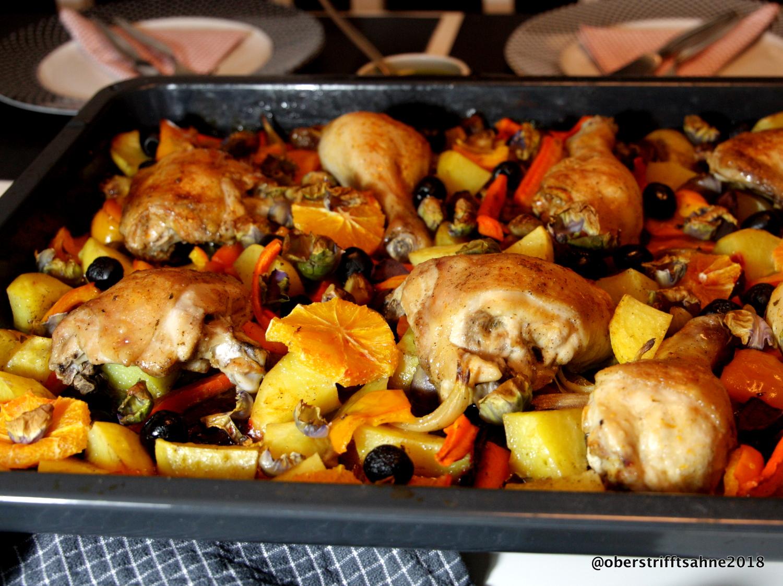 Schnelle Leichte Sommerküche Ofentomaten Mit Hähnchen : Bunte winterküche aus dem ofen : huhn mit gemüse