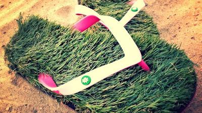 GFF Grass Flip Flops,small (7,5-9), Black,Green