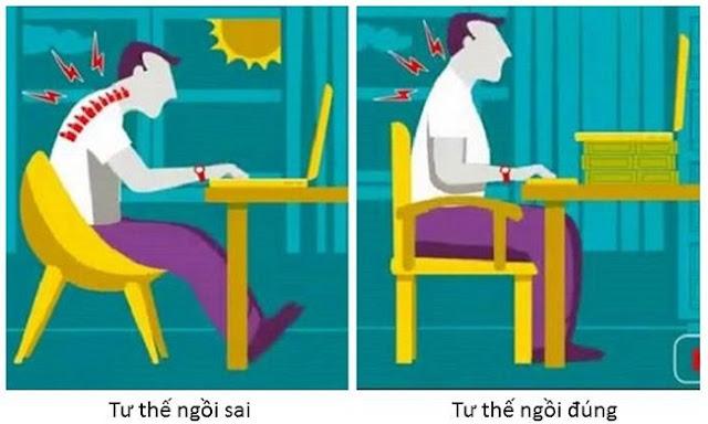 Tư thế ngồi đúng khi làm việc với máy tính