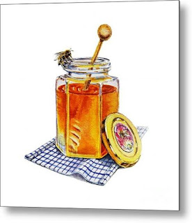 Watercolor Painting of Honey Jar and Bee by artist Irina Sztukowski