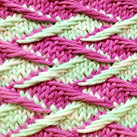Zig Zag Jacquard stitch, two color slip stitch pattern. It looks complicated but isn't. You only work one colour at a time.