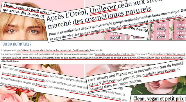 coupures presse qui parlent de la marque love beauty and planet développé par Unilever