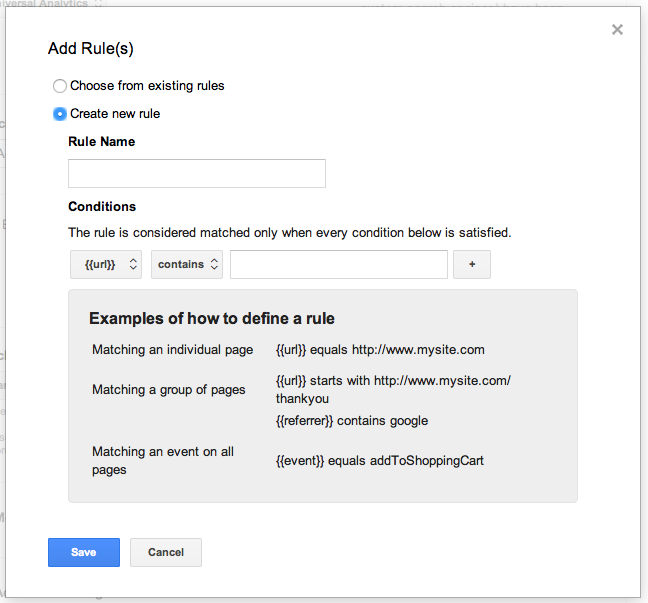 name the rule in Google Analytics