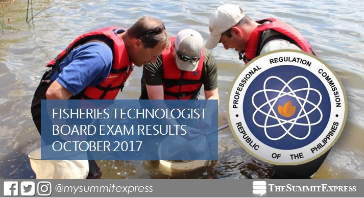 October 2017 Fisheries Technologist board exam passers list, top 10