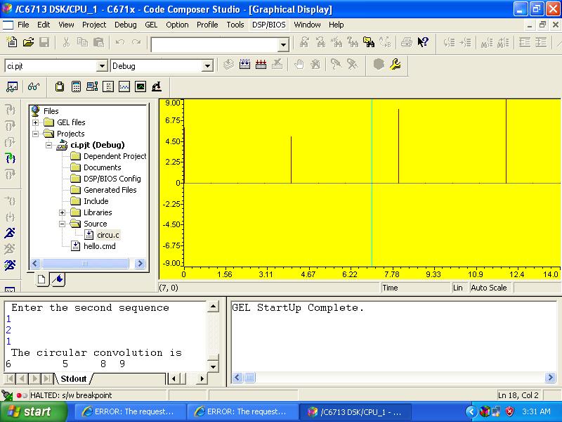 CIRCULAR CONVOLUTION USING TMS320C6713 DSK KIT