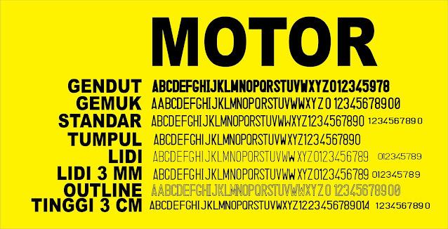 jenis-font-pelat-kendaraan