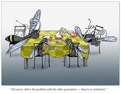 """A cartoon of 4 flies sitting at a table and drinking DDT-2 appear to be knocked out-with the caption, """"Of course, that's the problem with the older generation  - they're so intolerant""""."""