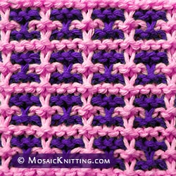 Two color Knitting. Windowpane Square stitch. Knit using slipped stitches. Easy to memorize.