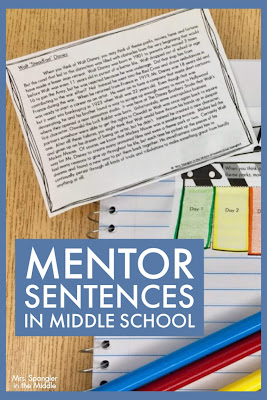 Mentor Sentences are not just for Elementary students!  Find out how I use them with grade-level texts in my Middle School classroom! #grammar #notebook