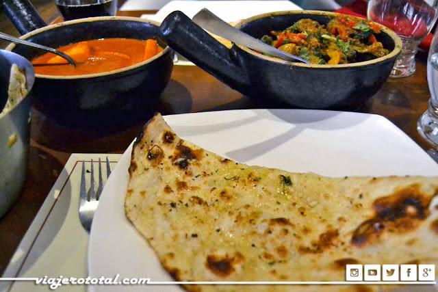 Comida india vegetariana en Nueva Delhi.