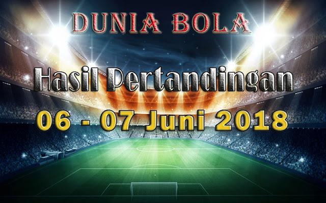 Hasil Pertandingan Sepak Bola Tanggal 06  - 07 Juni 2018