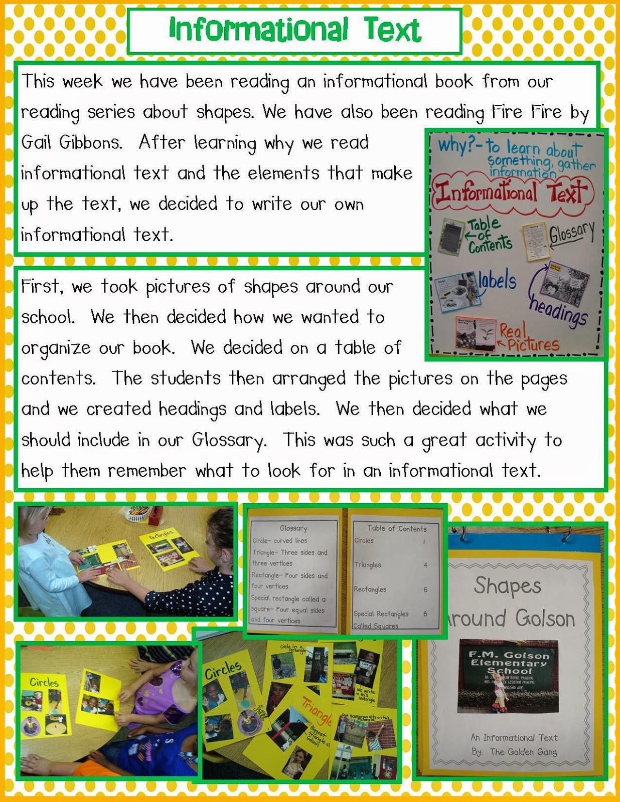 Golden Gang Kindergarten Informational Text