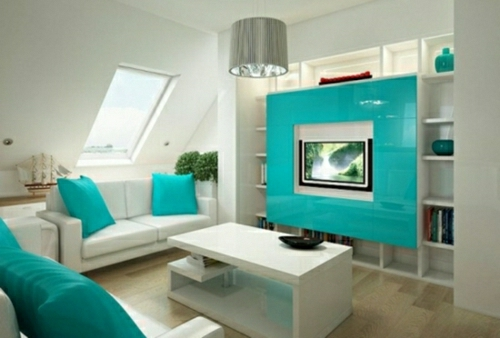 Salas color turquesa colores en casa for Decoracion en gris y turquesa