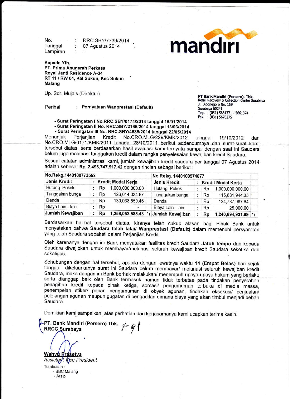 Contoh Surat Peringatan Tunggakan Kredit Bank