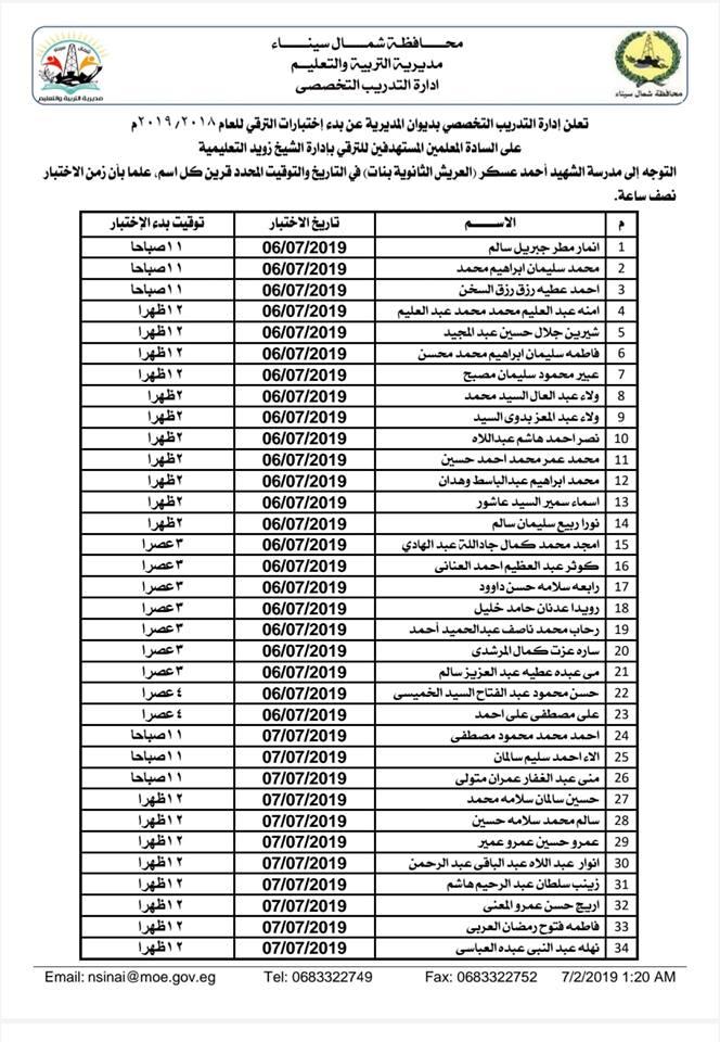 اسماء المعلمين الذين لديهم اختبار ترقى اعتبارا من يوم السبت القادم ٢٠١٩/٧/٦ والذين كان اختاروا تدريب اون لاين ثم اختبار الكترونى 4