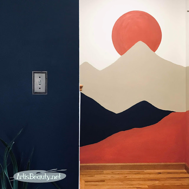 Blank wall turned into a Marushka inspired Mountain Scene Use what you have in your home DIY accent wall mural Karin Chudy artisbeauty.net