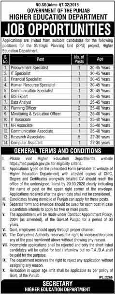 Latest Jobs For Procurement Specialist, IT Specialist in  Higher Education Department Govt  Punjab