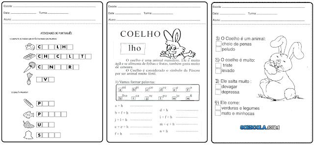Confira nesta postagem Atividades de português, com algumas interpretações de texto, os exercícios foram desenvolvidos para a páscoa, com coelhos e ovo da páscoa e todas estão prontas para imprimir.