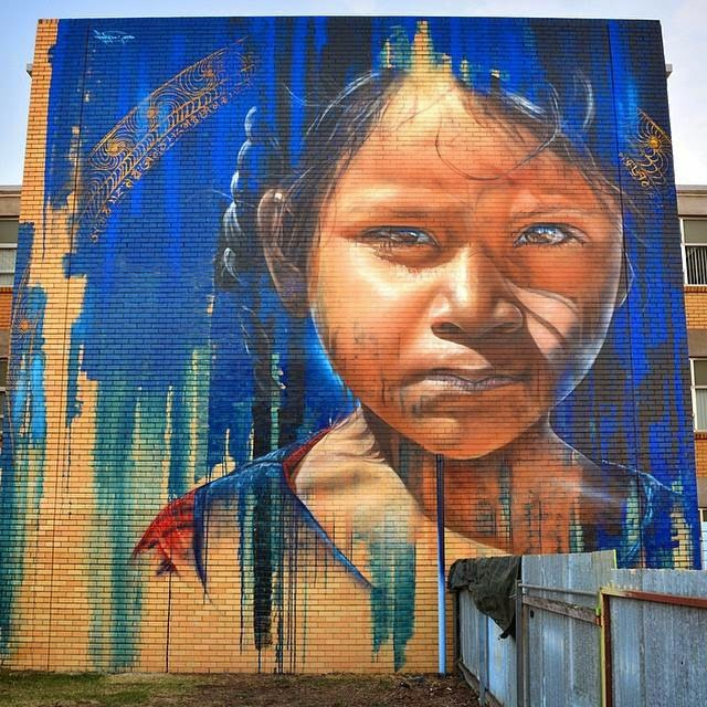 Adnate is back in Australia where he was invited by the Wall To Wall Street Art Festival to work on a new piece on the streets of Benalla, a small city located on the Broken River in the High Country north-eastern region of Victoria.