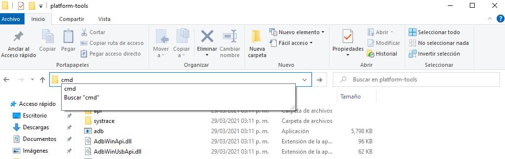 Abrir ventana de comandos CMD