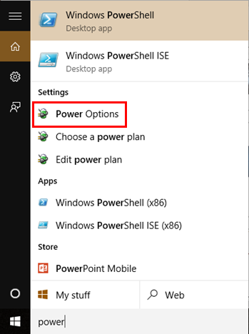 Power Options Windows 10