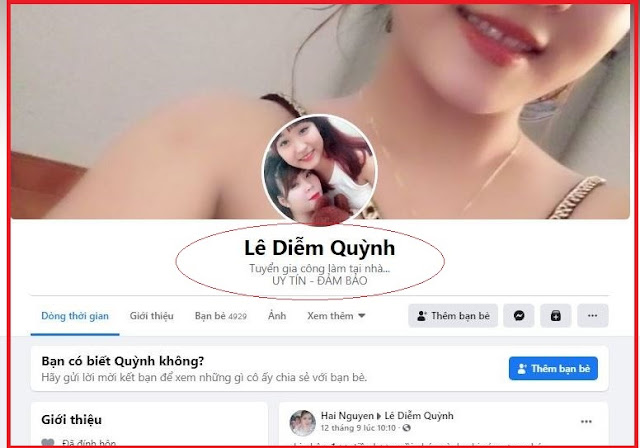 nick Facebook của nhóm lừa đảo
