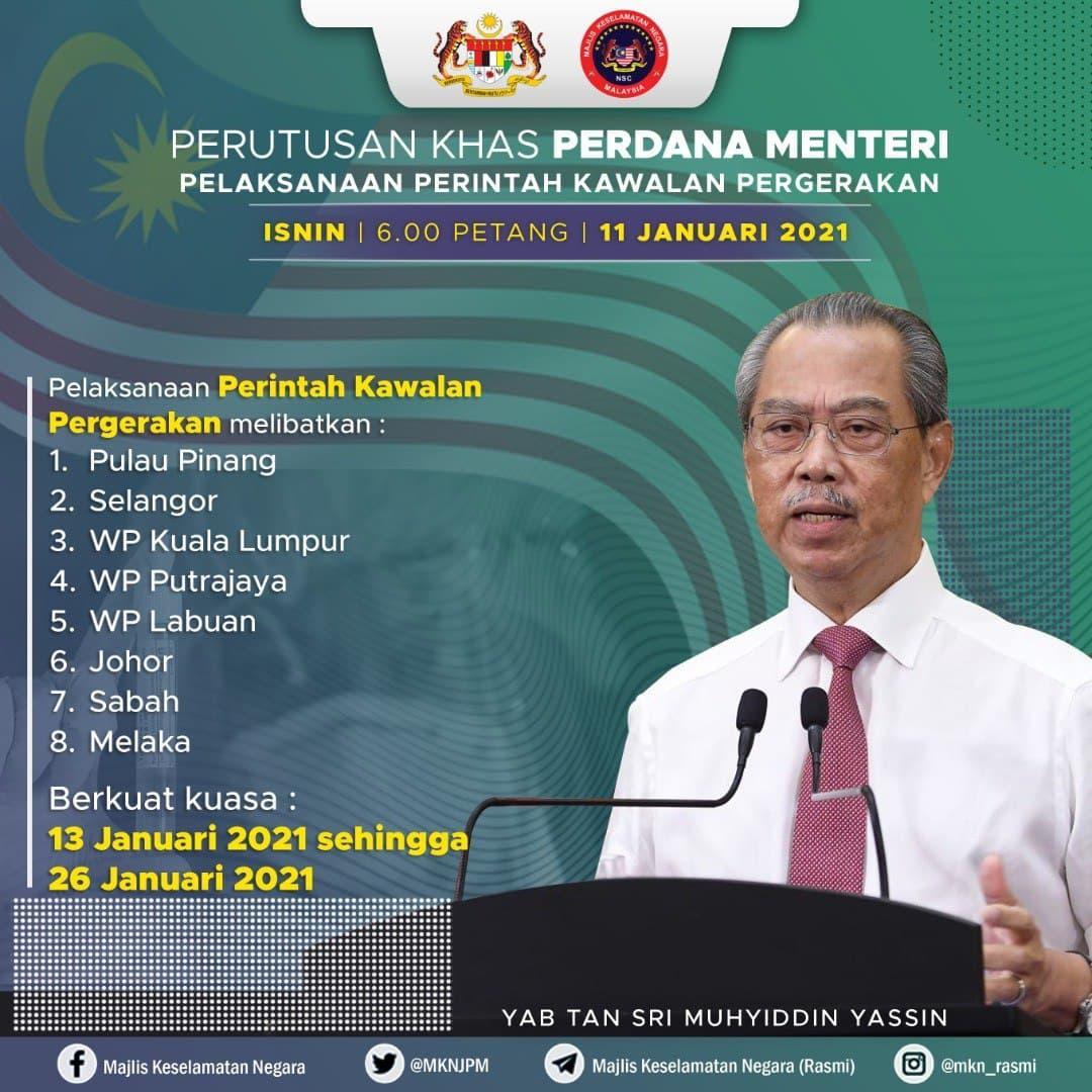 Perintah Kawalan Pergerakan (PKP) 13 Januari 2021 hingga 26 Januari 2021