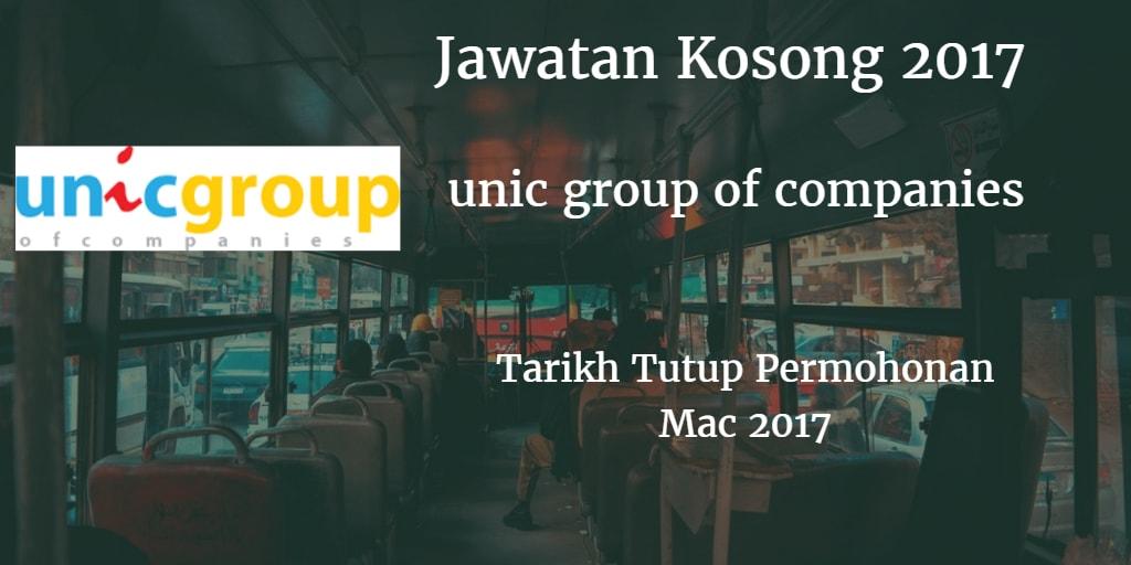 Jawatan Kosong  unic group of companies Mac 2017