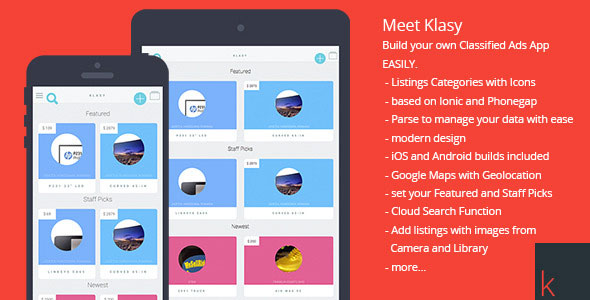 Download Free Klasy - Classified Ads Mobile App
