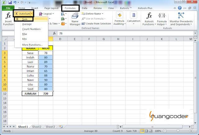 Rumus AUTOSUM Microsoft Excel