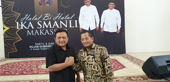 Syarifuddin Daeng Punna Bareng Gubernur Sulsel Hadiri Halal Bi Halal SMANLI Makassar