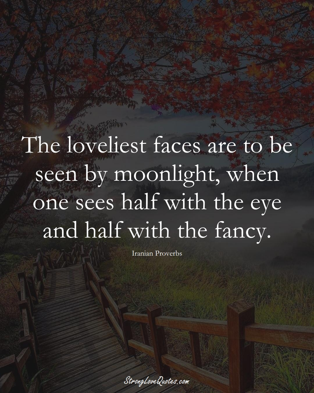 The loveliest faces are to be seen by moonlight, when one sees half with the eye and half with the fancy. (Iranian Sayings);  #MiddleEasternSayings