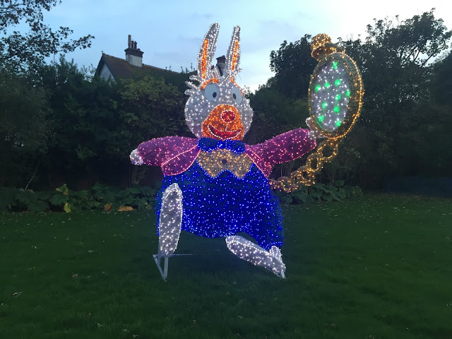 White rabbit light from alice in wonderland at sunderland illumination 2017
