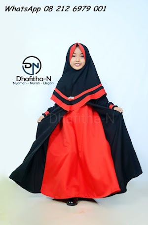 Gamis Anak Perempuan Warna Hitam Merah Dhafitha-N