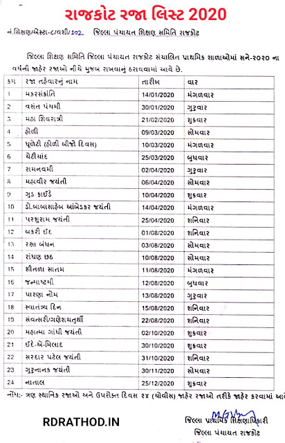 RAJKOT JILLA RAJA LIST (2020) | DOWNLOAD GANDHINAGAR HOLIDAY LIST 2020