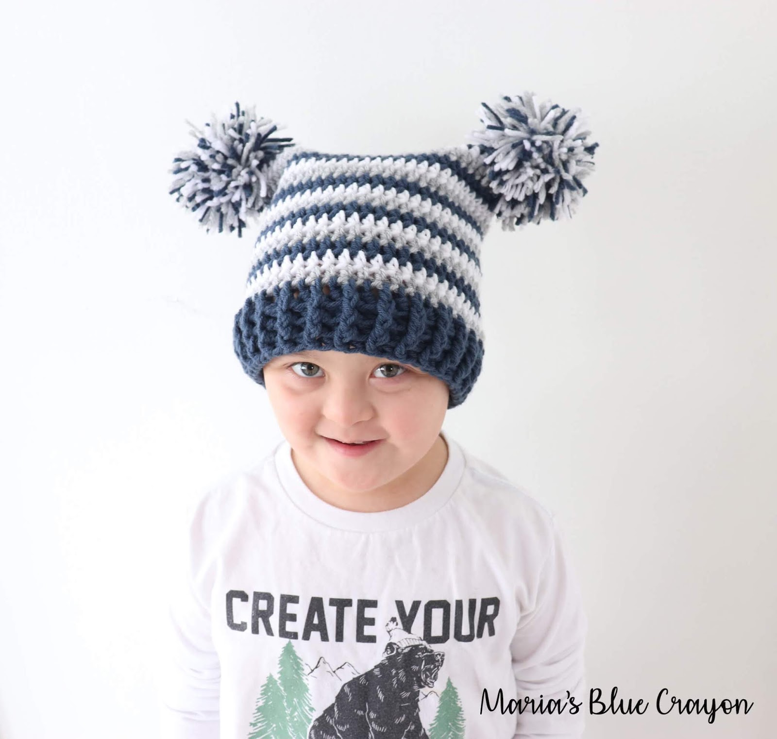 Double Pom Pom Hat For Baby Kids And Adults Free Crochet Pattern