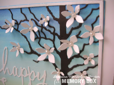 watercolor easter scene with memory box dies detail flowers