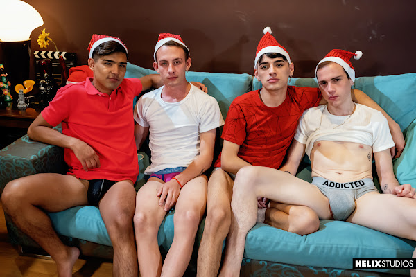 #HelixStudios - Red Hot Festivities | Part 2: Xmas Foursome Mark Wolf, Italo Van Ewen, Felix Harris, Gil Donovan