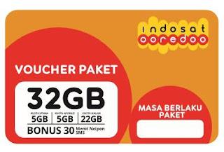 Voucher PAKET Indosat  32 Gb