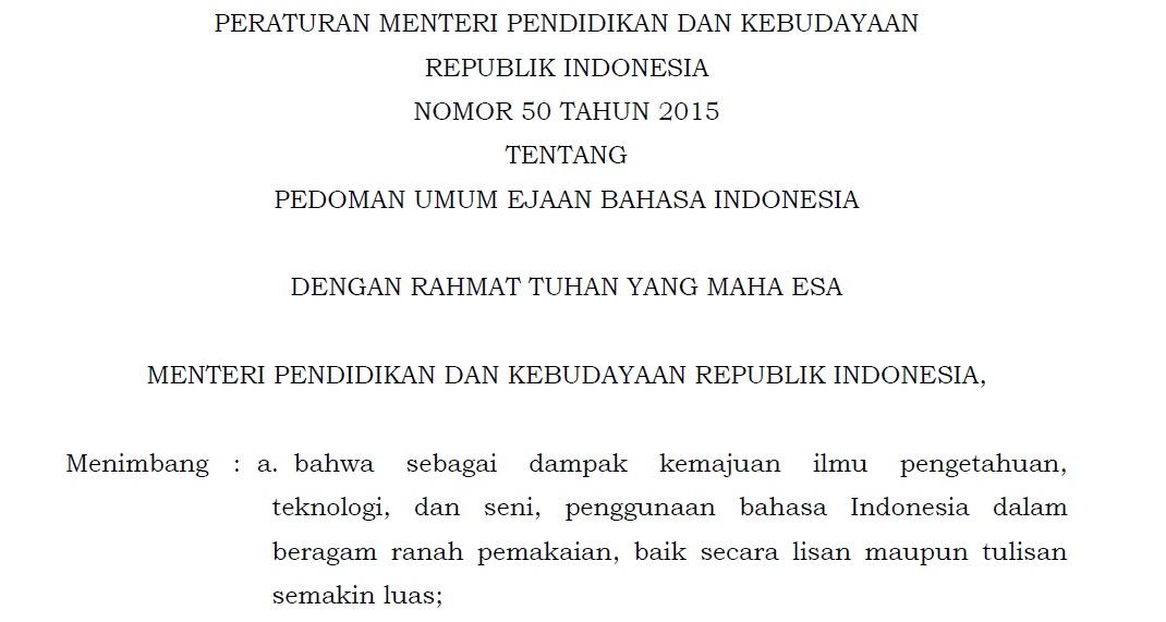 Penulisan Angka dan Bilangan Sesuai Ejaan Bahasa Indonesia Permendikbud Nomor 50 Tahun 2015