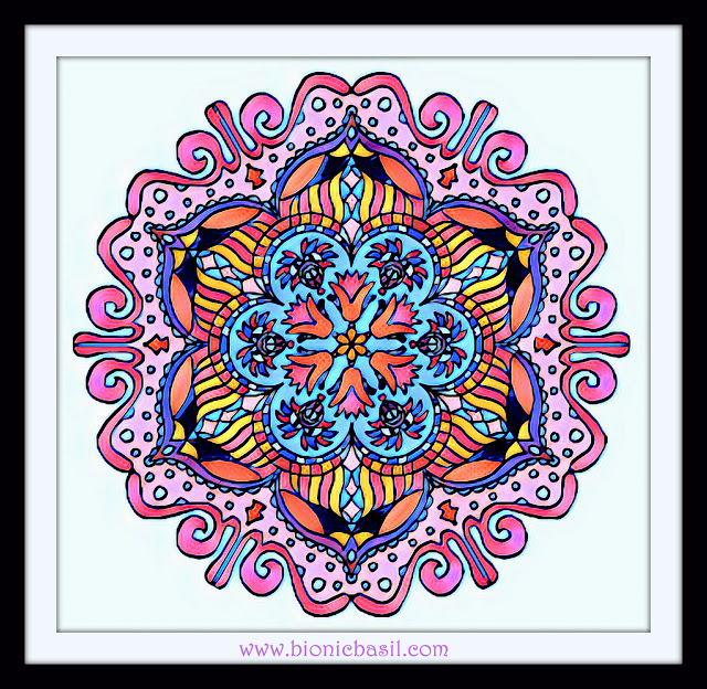 Mandalas on Monday ©BionicBasil® Colouring With Cats Mandala #113 coloured by Cathrine Garnell