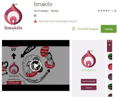 Aplikasi LimaKilo di GooglePlay Store